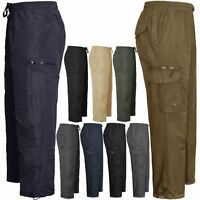 NEW MENS CARGO COMBAT THERMAL FLEECE LINED PANTS TROUSER JOGGING JOGGERS BOTTOMS