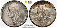 1936-D MS67 Boone Commemorative Half Dollar 50c, PCGS Graded, Rainbow Tone