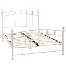 Julian Bowen Sophie 135cm Ivory Stone White Metal Double Bed Frame Bedstead