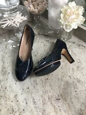 Repetto Paris Patent Leather Navy Blue Ballet Heels Wing Oxfords FR 39 1/2
