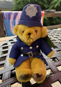 """MerryThought Bear Plush Police 9"""" Made In England Stuffed Animal Harrods NWT"""