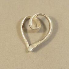 .925 Sterling Silver CURLED FLOATING HEART Pendant NEW Swirl Love 925 PW72