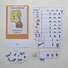 Teacher Made Literacy Center Educational Resource Game Initial Sounds k, qu & tw