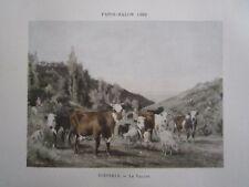 Gravure 19° Diéterle : Le vallon (vache alpage)