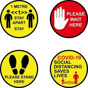 1 or 2 metre Please Wait Here Stand Here Social Distance Floor Stickers