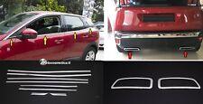 Peugeot 3008+2 PLACCHE CROMATE TERMINALI+8 CORNICI FINESTRINI ACCIAIO CROMO