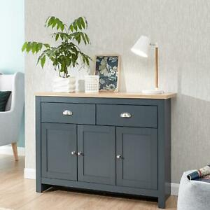 Large Slate Blue Sideboard Storage Unit 2 Drawers 3 Doors Oak Top Seconds