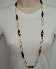 "LONG 36"" Technibond Tiger Eye Gemstone Necklace 14K Yellow Gold Clad Silver 925"