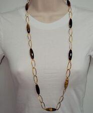 "LONG 36"" Technibond Tiger Eye Gemstone Necklace 14K Yellow Gold Clad Silver 925"