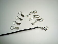 Ready made 4 you end crimp lobster clasp fastens 2mm cord or chain 4 sets silver