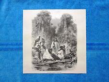 Gravure Année 1864 - Radeau d'Antis, à Chigalosigri - Zattera Antis,Chigalosigri