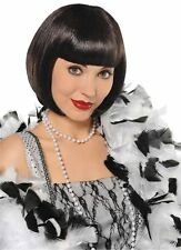 20s Short Black Bob Charleston Flapper Gatsby Fancy Dress Costume Fringe Wig