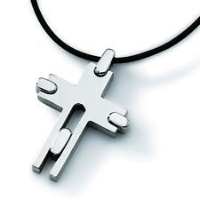 """Chisel Titanium Leather Cord Cross 18in Necklace 18"""""""