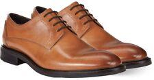 Men's Alfani Greg Plain Toe Derbys Oxford Brown Leather Shoes 10.5 M