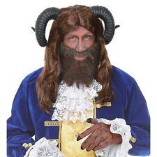 BRAUNE BIEST PERÜCKE Hörner Herren Bestie Märchen Karneval Kostüm Cosplay 09718