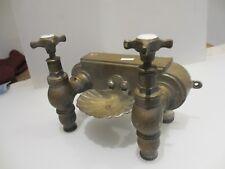 OTTONE antico bagno Rubinetti bacino lavello Shell Portasapone Francese Vintage Nickel VECCHIO