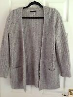 LADIES OATMEAL SOFT FEEL OPEN CHUNKY KNIT  CARDIGAN SIZE 12