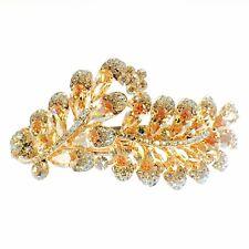 USA BARRETTE use Swarovski Crystal Hair Clip Hairpin Elegant Jeweled Brown K01
