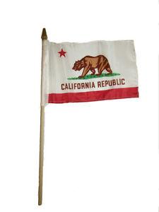 "6x9 6""x9"" State of California Stick Flag wood Staff"
