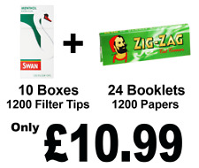 1200 Zig Zag Green Rolling Papers and 1200 Swan Menthol Extra Slim Filter Tips