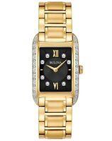 Bulova Women's Quartz Diamond Markers Black Dial Gold Tone 34mm Watch 98R228