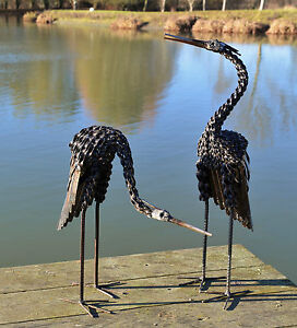 Metal Heron Twisted Garden Ornament Sculpture Art - Handmade Recycled Metal Bird