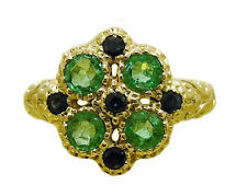 R107 Genuine 9K Solid Yellow Gold NATURAL Emerald & Sapphire Blossom Ring size N