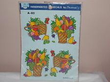 Vtg 1986 Decoral Handpainted Waterslide Decals Fruit Baskets A-82 New Old Stock