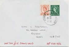 2469 29.2.1972 Wilding 1 1/2D + 4 1/2D on superb Last Day Cover ROYSTON / HERTS.