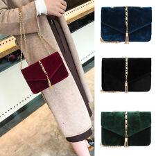 Women Velvet Bag Shoulder Messenger Handbag Ladies Clutch Zip CrossBody Purse BW