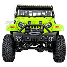 Rock Crawler Stubby Front Bumper+Winch Plate+2x LED for 97-06 Jeep Wrangler TJ