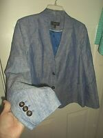 Talbots Sz 18WP 100% Linen Chambray Blue Blazer Jacket Lined Pockets NWOT