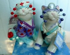 """WhimsiClay Nurse cat """"Melissa""""+ Dr. Catwell pair, + free Dr. ornament $15 value"""