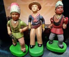 JAPAN MOVABLE CELLULOID COWBOY and INDIANS with GUNS SPEARS TOMAHAWK HEADDRESS.
