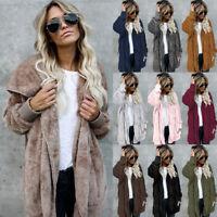 UK Womens Fluffy Fleece Cardigan Coat Top Jacket Ladies Oversized Sweater Jumper