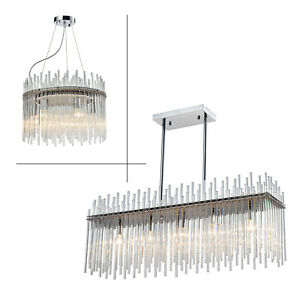 Modern Luxury Chandelier E14 LED Glass Crystal Droplet Elegant Ceiling Light Fix