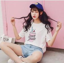 Korean Fashion Womens Summer Ice Cream Printing Loose Blouse Short Tops T -Shirt