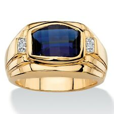 BLUE SAPPHIRE MENS 18K GOLD DIAMOND ACCENT GP  RING SIZE 8 9 10 11 12 13