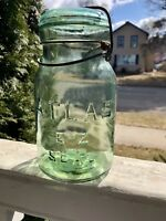 Variant Antique Fruit Jar Light Green/yellow Tint Atlas E-Z Seal Qt.