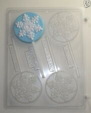 SNOWFLAKE LOLLIPOP CLEAR PLASTIC CHOCOLATE CANDY MOLD C162