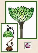 Deluxe Lamp Tiffany Style Floor Table Shade Vintage Victorian Glass Green New