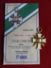 GÖDE Orden Sachsen 1850 - Albrechts Orden + Zertifikat Nr.2222