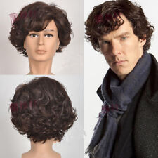 Newest Sherlock Holmes Brown short Curly Cosplay wig for men + free wig cap  #32