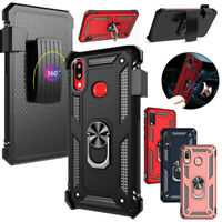 For Samsung Galaxy A10e A20s Armor Ring Stand Belt Clip Holster Hard Case Cover