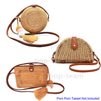 Straw Rattan Crossbody Bag Woven Wicker Purse Handbag Summer Beach Shoulder Bag