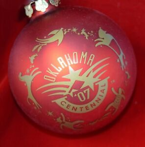 RED Oklahoma official Centennial Christmas glass ornament 1907 2007
