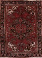 Vintage Heriz Persian Oriental Area Rug Geometric Hand-Knotted RED Wool 7' x 11'