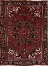 Vintage Oriental Traditional Area Rug Geometric Hand-Knotted Red Wool 7' x 11'