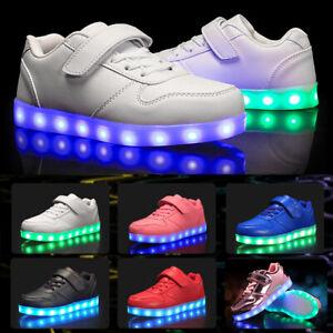 UK Boys Girls Kids Led Light Up Shoes Luminous Flashing Trainers Sneakers Gift