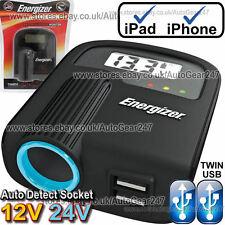 Energizer 12v 24v Accendisigari Presa Doppio Adattatore USB CARICABATTERIE MONITOR. 501
